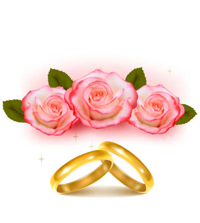 wedding symbol: Gold wedding rings in front of three pink roses  Vector  Illustration