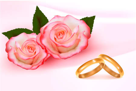 Gold wedding rings in front of three pink roses  Vector  Illustration