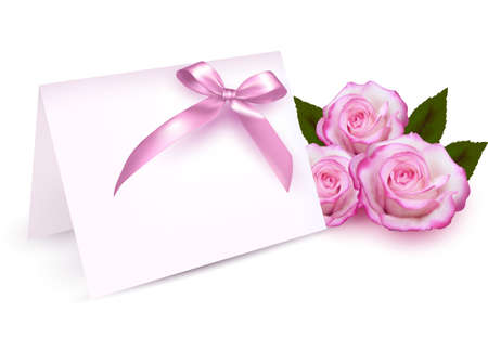 flower card: Greeting card with beauty roses and pink bow. Vector illustration. Illustration