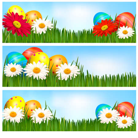 Easter banners with Easter eggs and colorful flowers. Vector illustration. Vector