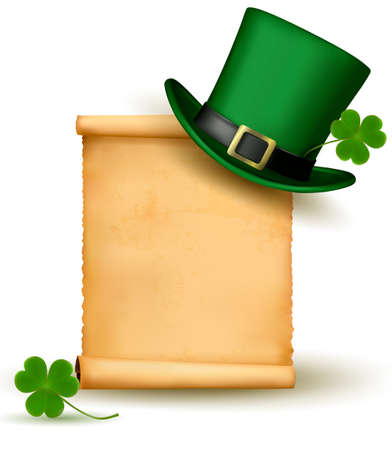 patric: Saint Patrick Day card with clove leaf and green hat  Vector illustration