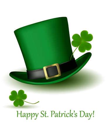 st: St  Patrick Day hat with clover  Vector illustration  Illustration