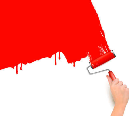 roller brush: Hand with red roller painting the white wall  Background vector