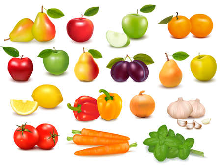 Big collection of fruits and vegetables  Vector illustration  Ilustracja