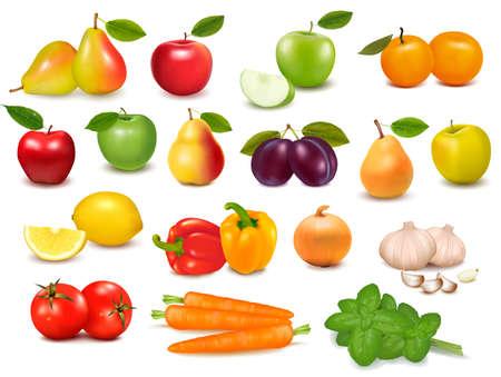 Big collection of fruits and vegetables  Vector illustration  Illustration
