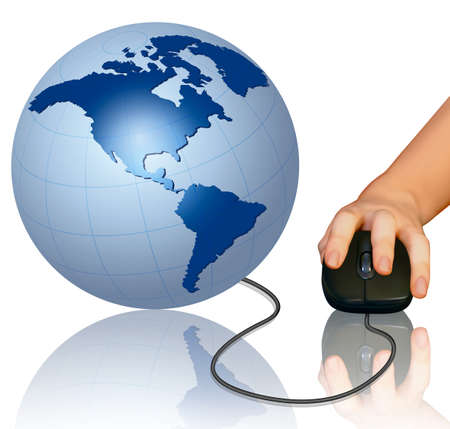 surf team: Hand with computer mouse and globe  Vector illustration