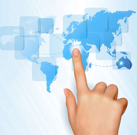 Finger touching world map on a touch screen  Vector  Vector