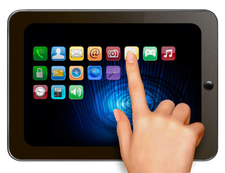 Hand holding digital tablet computer with icons  Vector illustration Vector