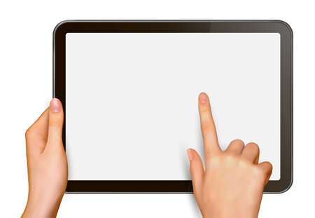 new media: Finger touching digital tablet screen  Vector illustration  Illustration