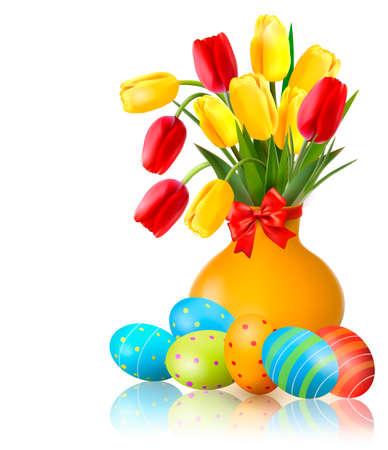 4월: 부활절 계란 꽃병에 화려한 꽃을 봄. 부활절 벡터 배경