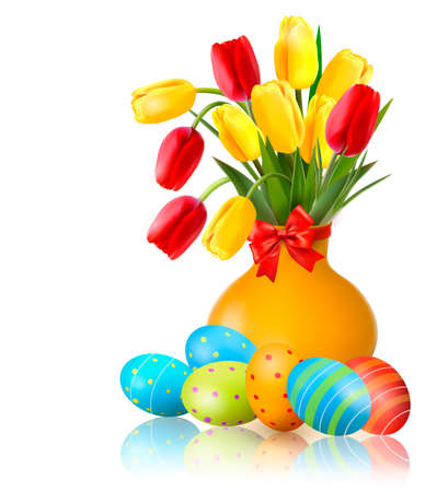 Spring colorful flowers in a vase with Easter eggs. Easter vector background