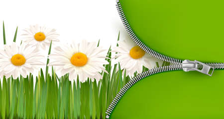 metal spring: Nature background with zipper. Vector illustration.