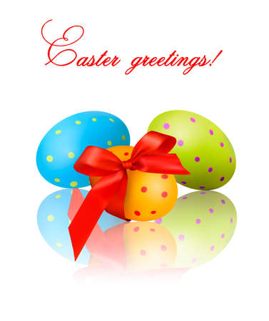 parting: Colorful Easter Eggs with red bow and ribbons  Vector