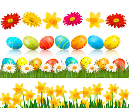 vector eggs: Big Easter set with traditional eggs and  flowers  Vector
