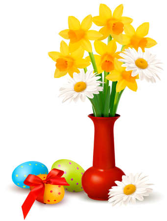 Spring colorful flowers in a vase with Easter eggs  Easter vector background Vector