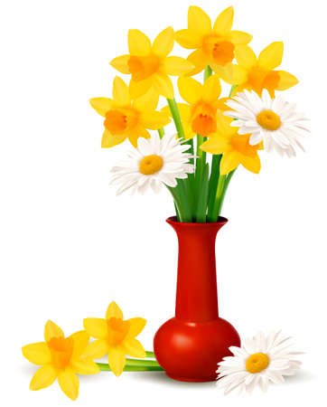 Spring colorful flowers in a vase with Easter eggs  Easter vector background Stock Vector - 12929937