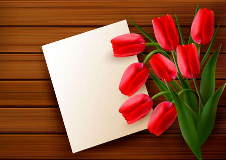 plain postcards: Red tulips and blank card  on old wooden board  Vector