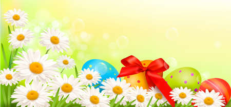 april beautiful: Easter background with Easter eggs and spring flowers  Vector illustration  Illustration