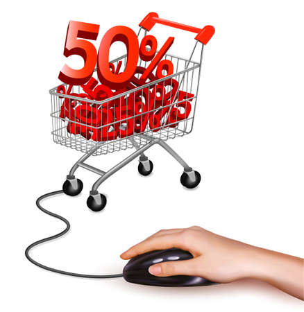 Hand with computer mouse and shopping cart with sale  Vector illustration  Vector