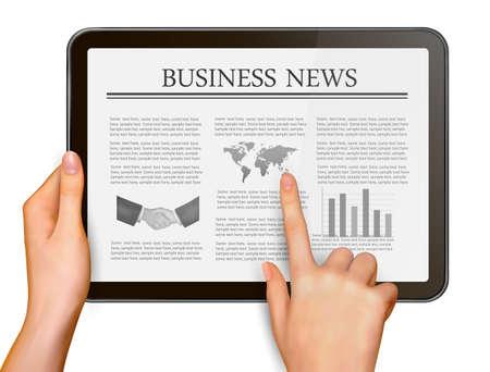 Los dedos tocando la pantalla tableta digital con la ilustración vectorial negocio de las noticias