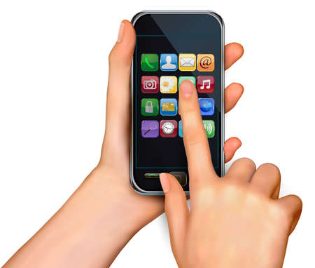 smartphone business: A hands holding touchscreen mobile phone with icons  Vector