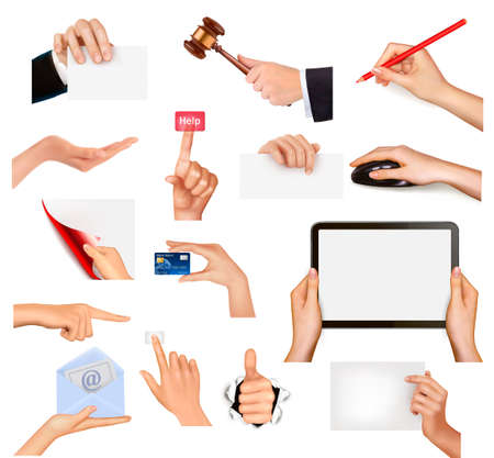 Set of hands holding different business objects. Vector illustration Stock Vector - 12929961