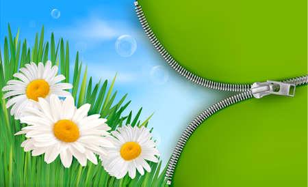 オープンエア: 自然の背景に春の花、ファスナーを開きます。ベクトル イラスト。