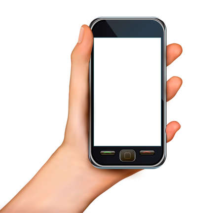 A hand holding smartphone with blank screen