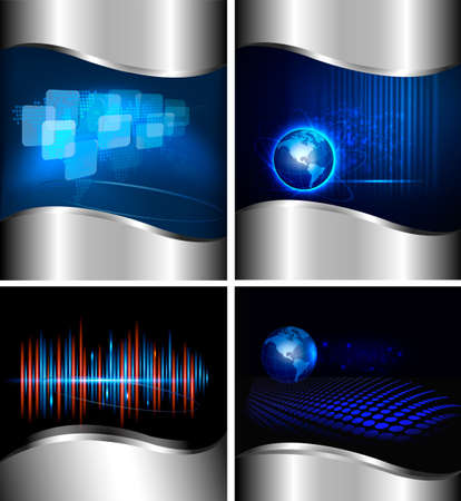 Big set of abstract technology and business backgrounds   illustration  Stock Vector - 12987365