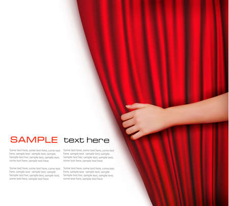Background with red velvet curtain  Vector illustration   Vector