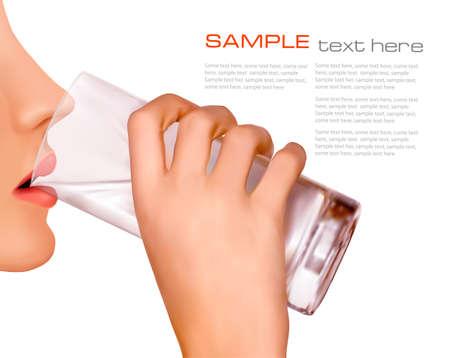 Die Hand mit Glas Wasser Vektor Standard-Bild - 13110504