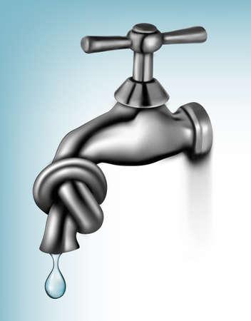 Waterkraan gebonden in knoop Vector illustratie