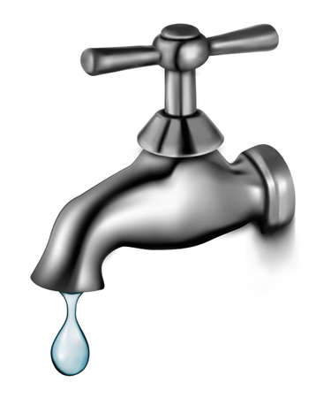 pour: Water tap with drop  Vector illustration