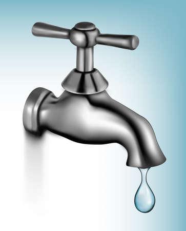 llave de agua: El agua del grifo con la ilustración vectorial caída