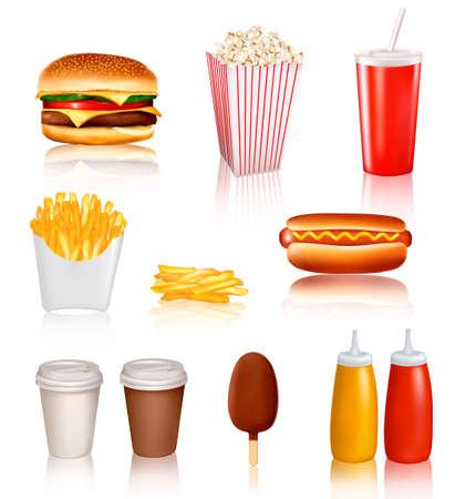 perro caliente: Grupo grande de ilustraci�n vectorial de comida r�pida de productos Vectores