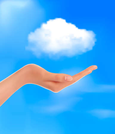 Cloud computing concept  Hand with blue sky and white cloud  Vector  Vector