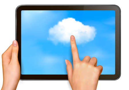 pointing device: Cloud computing concept  Finger touching cloud on a touch screen  Vector