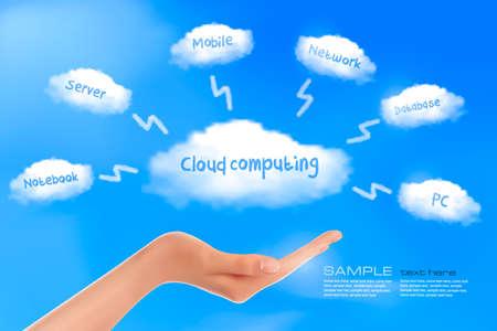 Hand with cloud computing diagram  Cloud computing concept  Vector Vector