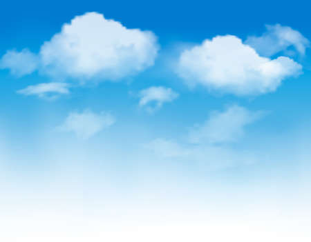 blue light: White clouds in a blue sky. Sky background. Vector Illustration