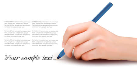 hand holding paper: Hand with pen writing on paper. Vector illustration.