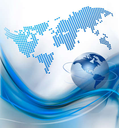 blue network: Business elegant abstract background with globe