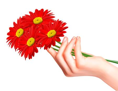 hands holding plant: Red flowers in a hand. Vector.