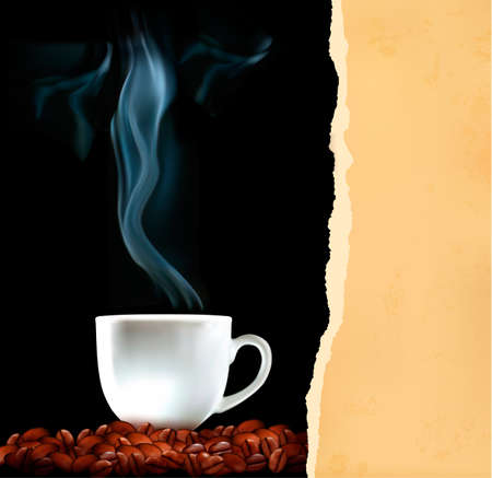 Background with cup of coffee and old ripped paper  Vector Vector