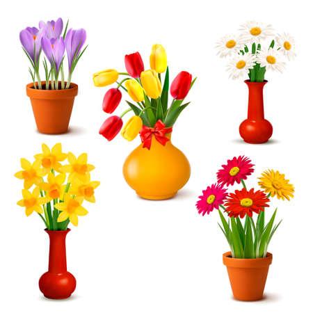 ramo de flores: Primavera y verano coloridas flores en jarrones ilustraci�n vectorial