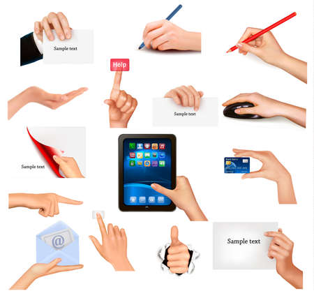 Set of hands holding different business objects  Vector illustration Stock Vector - 13409794