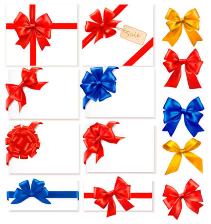 Big collection of color gift bows with ribbons Illustration