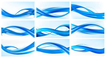 Grote set van abstracte blauwe elegante achtergronden Stock Illustratie