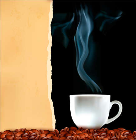 Background with cup of coffee and old ripped paper Vector