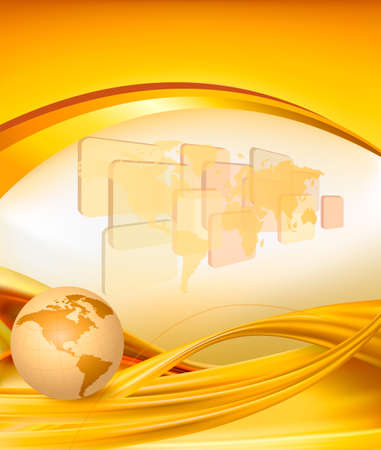 Business elegant gold background with globe illustration  Vector