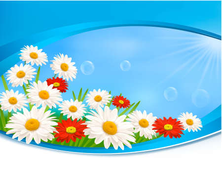 april beautiful: Nature background with summer colorful flowers  Vector